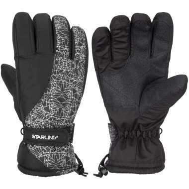 Wintersport starling mirre handschoenen voor kinderen zwart/wit