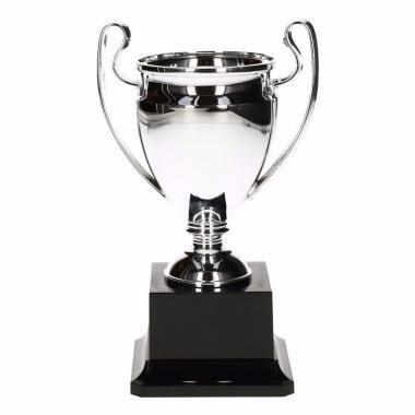 Wisselcup kampioensbeker 18 cm zilver met oren