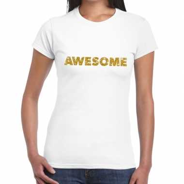 Wit awesome goud fun t-shirt voor dames