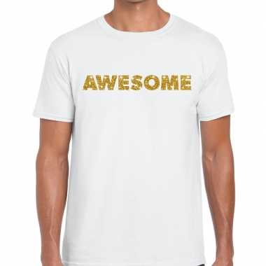 Wit awesome goud fun t-shirt voor heren
