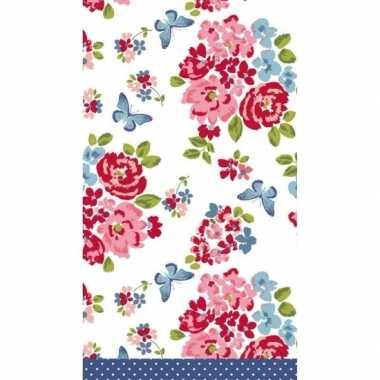 Wit/blauw/roze roos bloemenprint tafelkleden/tafellakens 120 x 180 cm