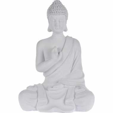 Wit boeddha beeld zittend 30 cm