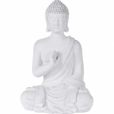 Wit boeddha beeld zittend 41 cm