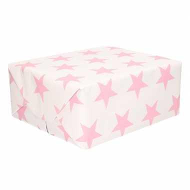 Wit cadeaupapier met roze sterren print 70 x 200 cm