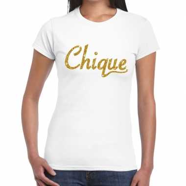 Wit chique goud fun t-shirt voor dames