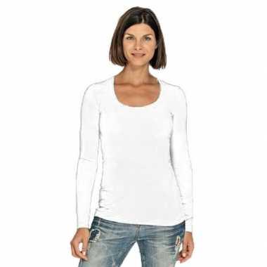 Wit dames shirt met ronde hals en lange mouwen