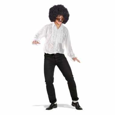 Wit disco overhemd/rouche blouse voor heren