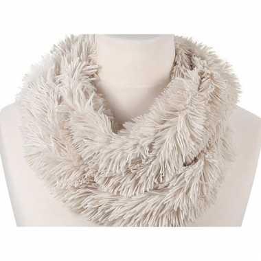 Wit fleece ronde col sjaal 80 cm voor volwassenen