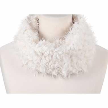 Wit fleece ronde col sjaal voor volwassenen
