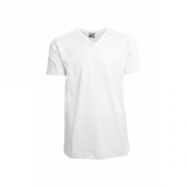 Wit gekleurd v-hals shirt voor heren