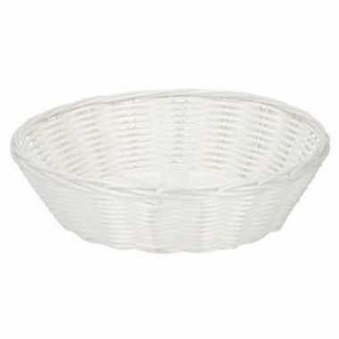 Wit gevlochten rieten broodmandje 25 cm van plastic