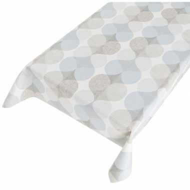 Wit/grijs/blauwe tafelkleden/tafelzeilen gekleurde grafisch print 140