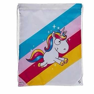 Wit gymtasje met regenboog eenhoorn print
