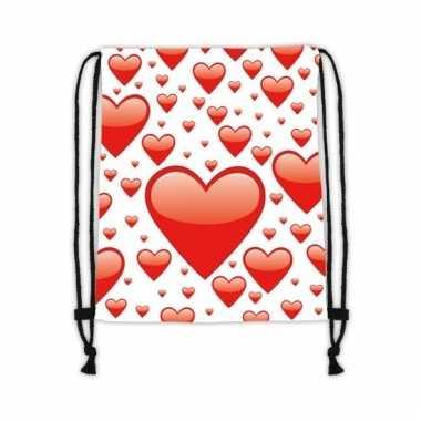 Wit gymtasje met rode harten