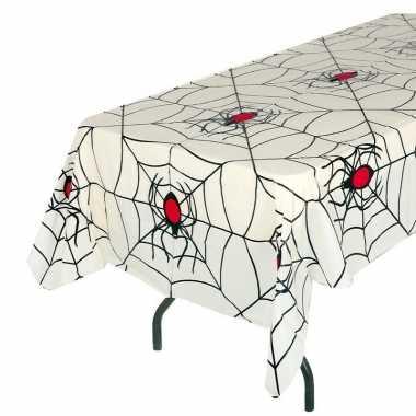 Wit heksen spinnenweb thema tafellaken 135 x 270 cm