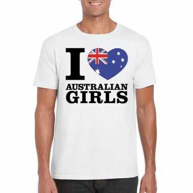 Wit i love australian girls/ i love australische dames t-shirt voor h
