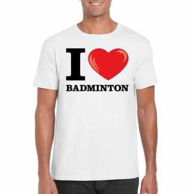 Wit i love badminton t-shirt heren