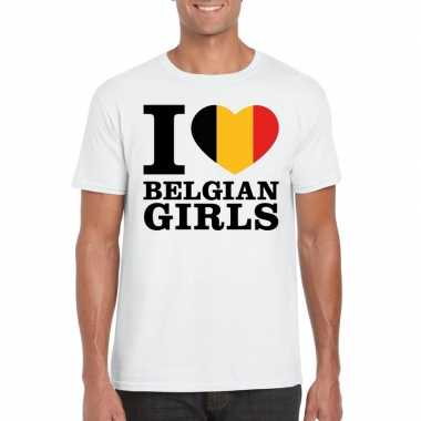 Wit i love belgian girls/ i love belgische dames t-shirt voor heren