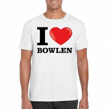 Wit i love bowlen t-shirt heren
