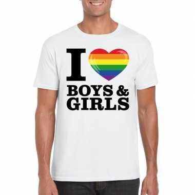 Wit i love boys & girls bi regenboog t-shirt heren