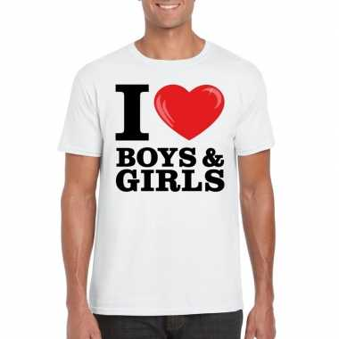 Wit i love boys & girls bi t-shirt heren