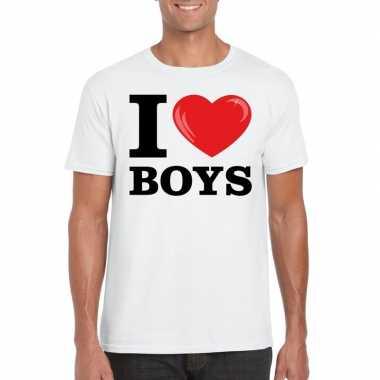Wit i love boys homo t-shirt heren