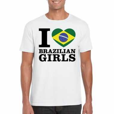 Wit i love brazilian girls/ i love braziliaanse dames t-shirt voor he