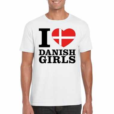 Wit i love danish girls/ i love deense dames t-shirt voor heren