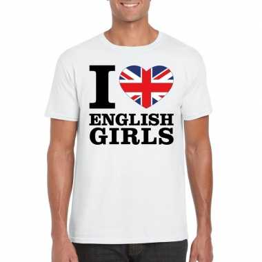 Wit i love english girls/ i love engelse dames t-shirt voor heren