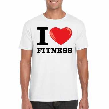 Wit i love fitness t-shirt heren