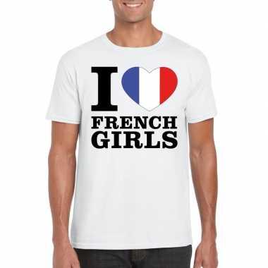 Wit i love french girls/ i love franse dames t-shirt voor heren