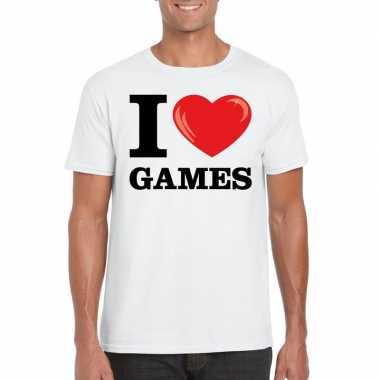 Wit i love games t-shirt heren