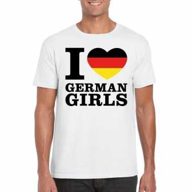 Wit i love german girls/ i love duitse dames t-shirt voor heren