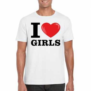 Wit i love girls t-shirt heren