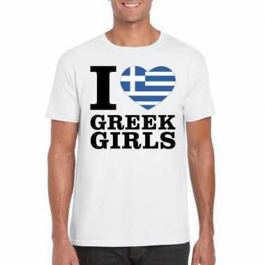 Wit i love greek girls/ i love griekse dames t-shirt voor heren