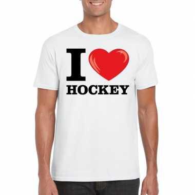 Wit i love hockey t-shirt heren
