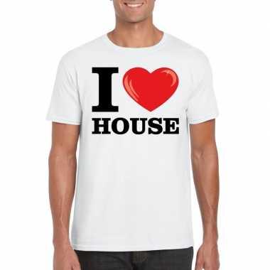 Wit i love house t-shirt heren