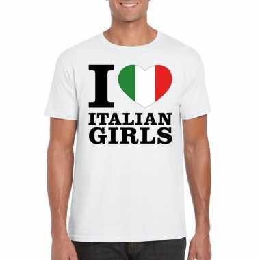 Wit i love italian girls/ i love italiaanse dames t-shirt voor heren