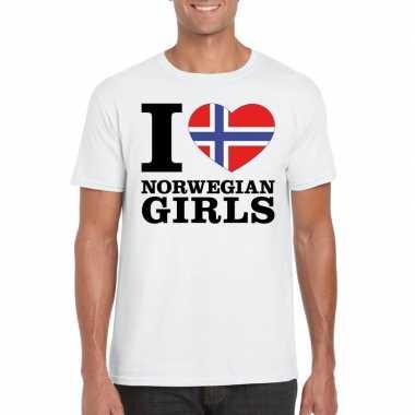 Wit i love norwegian girls/ i love noorse dames t-shirt voor heren
