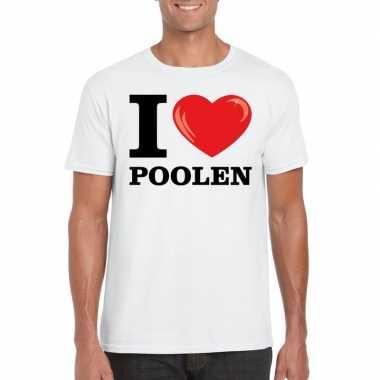Wit i love poolen t-shirt heren