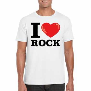 Wit i love rock t-shirt heren