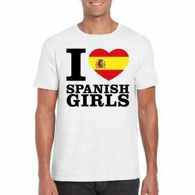Wit i love spanish girls/ i love spaanse dames t-shirt voor heren