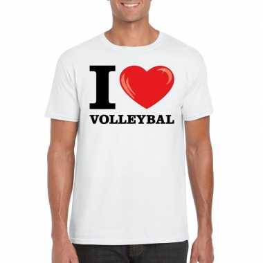 Wit i love volleybal t-shirt heren