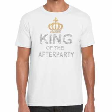 Wit king of the afterparty glitter steentjes t-shirt heren