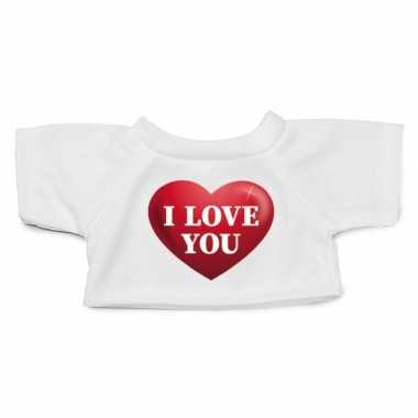 Wit knuffel shirt hartje i love you maat m voor clothies knuffel 13 x