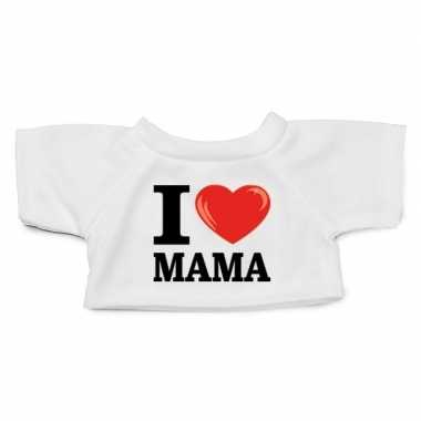 Wit knuffel shirt i love mama maat m voor clothies knuffel 13 x 9 cm
