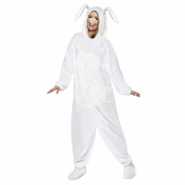 Wit konijn/haas jumpsuit voor volwassenen