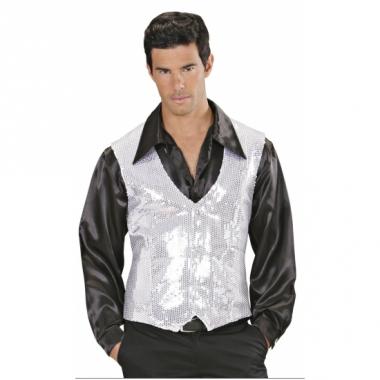 Wit met zilver pailletten vestje voor heren