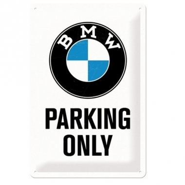 Wit muurbordje bmw parking only