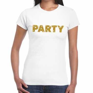 Wit party goud fun t-shirt voor dames